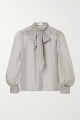 Saint Laurent Pussy-bow Silk-georgette Blouse - Light gray