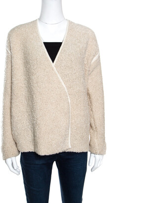 Zadig and Voltaire Cream Textured Wool Open Front Daphnee Cardigan L