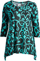 Glam Black & Green Floral Sidetail Tunic - Plus