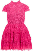 Alice + Olivia Alice Olivia - Ruffled Cotton-blend Corded Lace Mini Dress - Pink