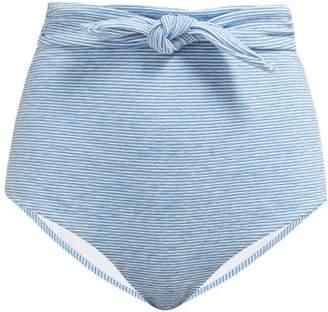 Mara Hoffman Jay Striped Belted Bikini Briefs - Womens - Blue White