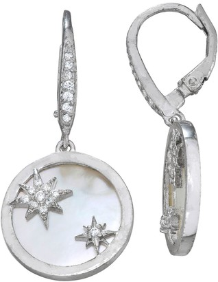 Mother of Pearl & Cubic Zirconia Star Disc Earrings