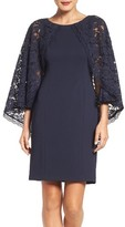 Adrianna Papell Women's Lace Cape Sheath Dress