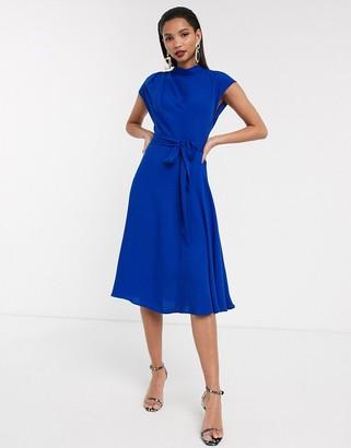 Asos Design DESIGN high neck grown on sleeve skater midi dress-Blue