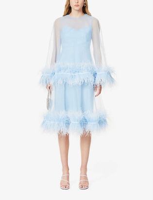 Huishan Zhang Coco feather-trimmed tulle midi dress