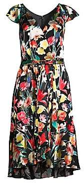 Elie Tahari Women's Ryder Floral Silk-Blend Flounce Dress