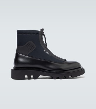 Givenchy Leather and neoprene combat boots