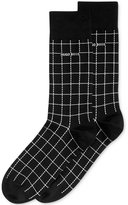 HUGO BOSS Men's Grid-Pattern Dress Socks