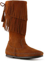 Minnetonka Women's Calf Hi 2 Layer Fringe Western Boot -Black