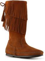 Minnetonka Women's Calf Hi 2 Layer Fringe Western Boot -Cognac