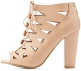 Charlotte Russe Bamboo Laser Cut Lace-Up Booties