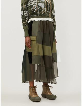 Sacai Contrast-panel wrap-over midi skirt