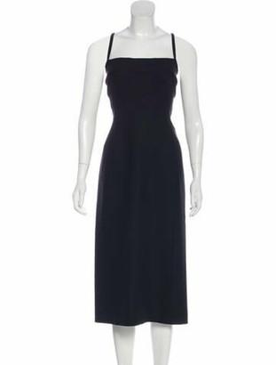 Dolce & Gabbana Virgin Wool Midi Dress Black