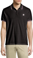 Moncler Twin-Tipped Short-Sleeve Pique Polo, Black