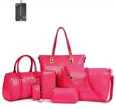 Donaword Women 6 Pcs Retro Organized Crocodie Pueather Handbag Set