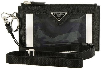 Prada Clutch Bag In Pvc And Leather With Triangular Logo And Credit Card Holder