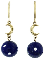 Andrea Fohrman Round Lapis And Crescent Moon Earrings