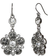 Liz Claiborne Silver-Tone Glass Stone Flower Drop Earrings
