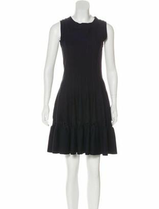 Alaia Wool Knit Dress Navy