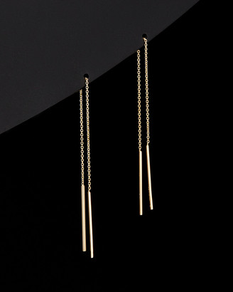 Italian Gold 14K Bar Threader Earrings