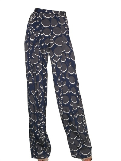 Peter Pilotto Printed Stretch Silk Twill Trousers