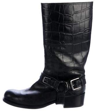 Christian Dior Embossed Biker Boots