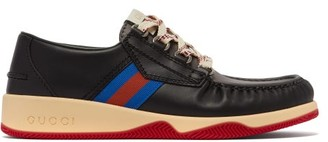 Gucci Agrado Web-striped Leather Deck Shoes - Mens - Black