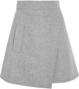 Carven Wrap-effect Wool-blend Felt Mini Skirt - Light gray