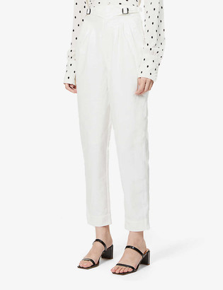 Rotate by Birger Christensen Wilde tapered high-rise faux-leather trousers