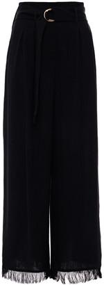 Nanushka Mason Belted Fringe-trimmed Woven Wide-leg Pants