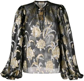 Saint Laurent floral embroidery blouse