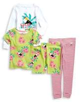 Body Glove Little Girl's Four-Piece Beach Cotton Sleepshirt, Tee, Shorts and Pants Pajama Set