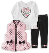 Kids Headquarters Baby Girls Top, Vest and Leggings Set