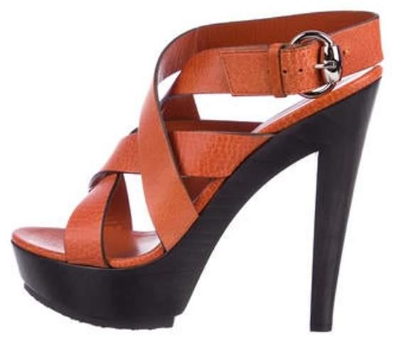 Gucci Platform Leather Sandals Orange Platform Leather Sandals