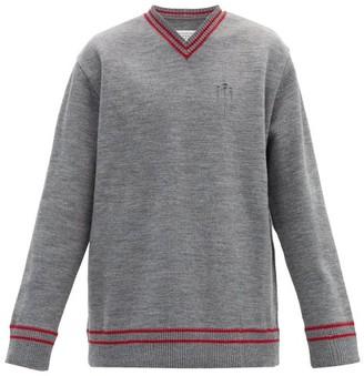 Maison Margiela Oversized Distressed V-neck Sweater - Grey