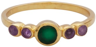 Carousel Jewels Green Onyx and Amethyst Delicate Ring