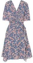 Isabel Marant Brodie Floral-print Stretch-silk Crepe Dress - Blue