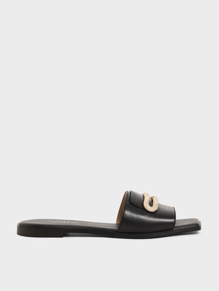 Charles & Keith Leather Metallic Accent Slide Sandals