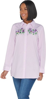 Quacker Factory Striped Button Front Embroidered Woven Tunic