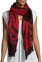Versace Medusa Head Print Wool Scarf