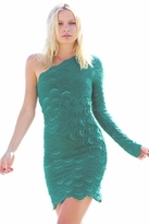Nightcap Clothing Victorian Lace One Sleeve Dress in Emerald