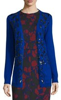 Oscar de la Renta Sequin-Embellished Long Cardigan, Royal