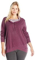 Calvin Klein Women's Plus Size Distressed Fleece and Thermal Top