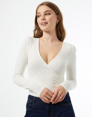 Miss Selfridge ivory wrap front jersey bodysuit
