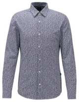 HUGO BOSS - Printed slim-fit shirt in a recycled-fabric blend - Dark Blue