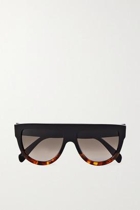 Celine D-frame Tortoiseshell Acetate Sunglasses - Black