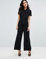 Oh My Love Wide Leg Jumpsuit With Neck Tie