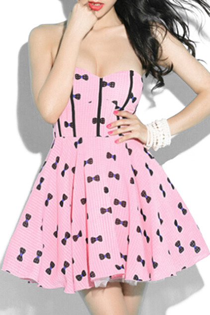 Romwe Sweet Bowknots Print Check Slim Dress