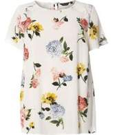Dorothy Perkins Womens DP Curve Plus Size Floral Ruffle Soft T-Shirt- White