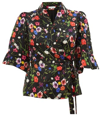 Borgo de Nor Solange Surreal-print Wrap Silk Blouse - Black Print